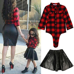66249f675 2pcs Toddler Kids Baby Girls Outfits Clothes T-shirt Top+Leather ...