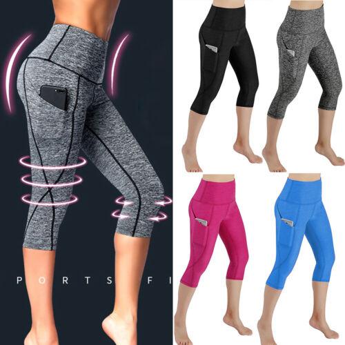 Women/'s High Waist Yoga Pants 3//4 Capri Push Up Sports Gym Workout Jogging O15
