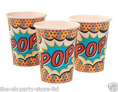 Superhero Pop Art Birthday Party CUPS x 8