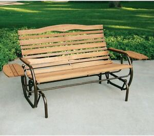 Image Is Loading Wood Glider Bench 2 Person Outdoor Patio Garden