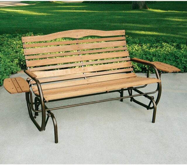 Wood Glider Bench 2 Person Outdoor