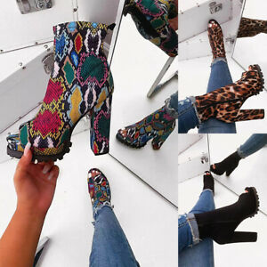 Women-039-s-Ankle-Booties-Chunky-Block-High-Heel-Boots-Ladies-Zipper-Peep-Toe-Shoes