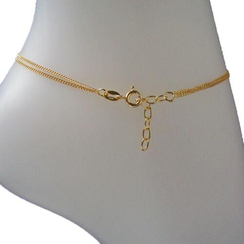 Fußkette 925 Silber Gold 24-27cm Infinity Unendlichkeit Kette Fußschmuck VE22222
