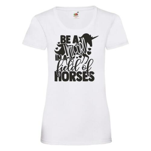 Be A Unicorn In A Field Of Horses Womens Ladyfit T Shirt Horse Riding Jumping