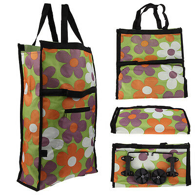 Portable Foldable Rolling Wheel Cart Trolley Shopping Bag Handle Carry Tote Case