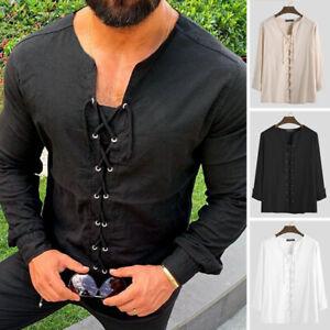 Mens Long Sleeve V Neck Medieval Retro T-shirt Tops Plain Lace-Up Blouse Plus