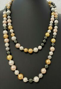 Muschelkernperlen-Collier-Perlen-Kette-Laenge-120-cm-Perlen-multi-ca-8-10-mm-NEU
