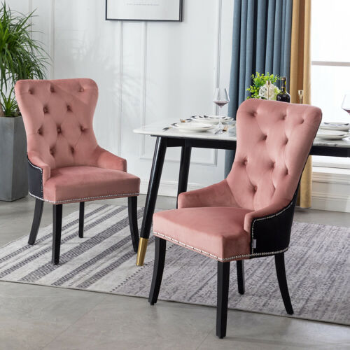 1/2/4X Upholstered Wing Button Velvet Dining Chairs Knocker Rivet Stud Chair New Pink+Black,Grey+Black