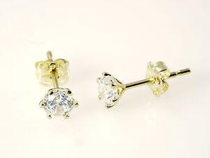 585 Gold Ohrstecker 1 Paar 5mm Grösse 6 Krappen mit Zirkonia Steinen