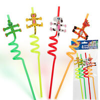 4 KIDS CRAZY STRAWS COLOURED TWISTY CURLY NOVELTY DRINKING PARTY BAG FILLERS