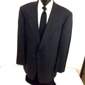 Giorgio-Armani-MANI-Men-BLACK-Sport-Coat-PIN-STRIPE-Suit-Jacket-Wool-Blazer-44-L