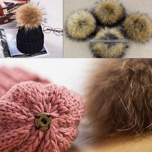ae32032e4efaf Large 15cm Ball Women Knit Hat Winter Raccoon Fur Pom Beanie Ski ...