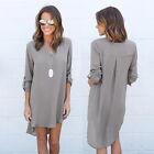 Womens Shirt Dress V Neck Casual Loose Party Tunic Mini Dresses Blouse Plus Size