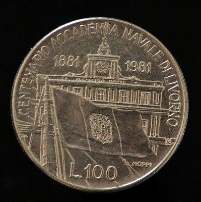 km108 Commemorative BU Accademia Navale di Livorno Italy 100 Lire 1981