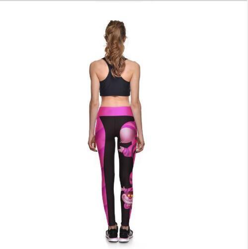Fashion Wide Belt Legging Pink Cheshire Cat Print Legging S-4XL elastic Legging