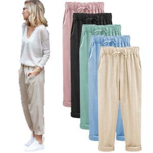 Moda Para Mujeres Regalo Harem Cintura Alta Suelta Informal De Verano Pantalones Sueltos Pantalones Para Nosotros Ebay
