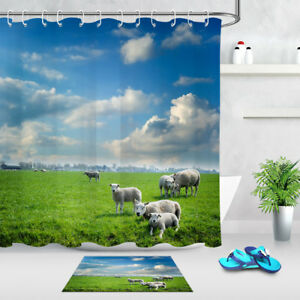 Image Is Loading Waterproof Fabric Green Pasture Sheep Shower Curtain Set