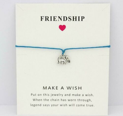 Make A Wish ❤ Elephant Silver Plated Blue Bracelet//Anklet Wax Cord /& Gift Card