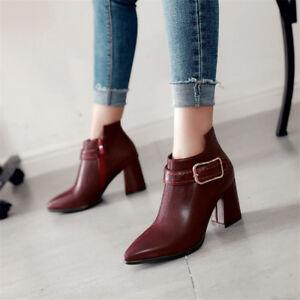 e146fd9a9b2fa Women Side Zip Ankle Boots Pointed Toe Block Heel Buckle Booties ...
