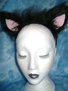 Black Cat Ears With Pink Inners Fancy Dress Luxury Faux Fur Costume Ears