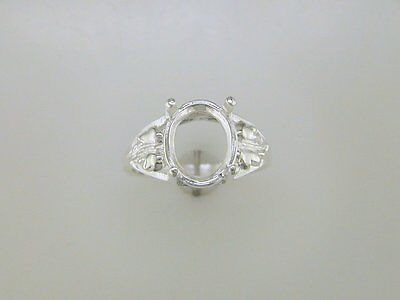 (10x8 - 12x10 mm) Oval Solitaire Leaf Ring Setting Sterling Silver