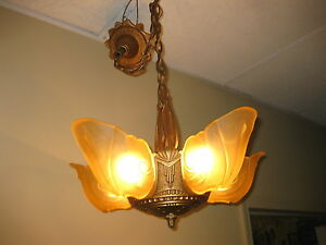 1930s cast iron 5 light slip shade chandelier markel ebay image is loading 1930s cast iron 5 light slip shade chandelier mozeypictures Gallery