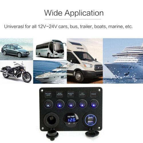 USB Charger Socket Boat Marine Inline Fuse Box LED Rocker Switch Panel Voltmeter