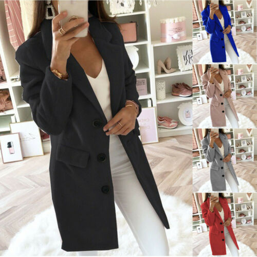 Jacket Overcoat Long Sleeve Women/'s Winter Trench Ladies Blazer Woolen Coat