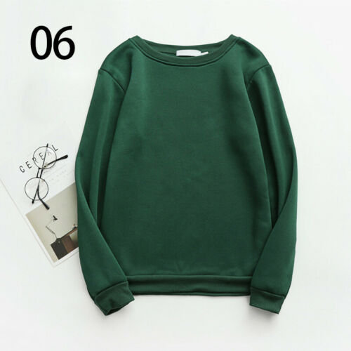 Womens Mens Solid Color Sweatshirt Couple Round Neck Autumn Winter Warm Sweater