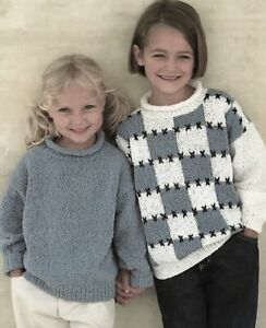 """USED GIRLS AND BOYS CARDIGAN KNITTING PATTERN DOUBLE KNIT CHEST 12/"""" TO 22/"""""""