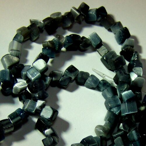 Cats Eye Chip Bead 2 Strands Gray Glass Strand Tree of Life Shiny Fiber Optic