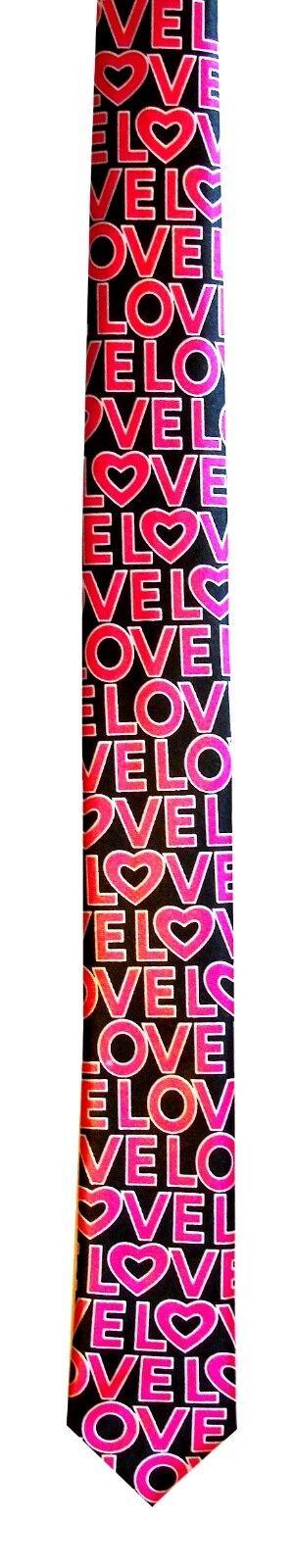 ! nuevo! para Hombres Negro Rosa Seda se sienten día de San Valentín Amor Novedad Navidad romántico Corbata