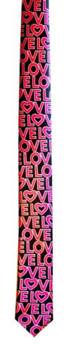 NEW Mens Black Pink Silk Feel Valentines Love Novelty Xmas Romantic Neck Tie