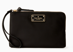 Kate-Spade-Nylon-Zip-Phone-wallet-Wristlet-wilson-road-leoni-Black-NWT-139