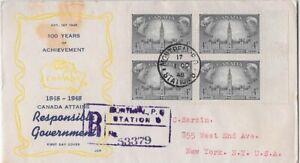 Canada FDC: 1948 4¢ Responsible Government FDC Sc #277 Block FDC - 277-4