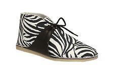 Clarks Womens Casual Zebra Print African Ocean Textile Boots Black/White, UK 4