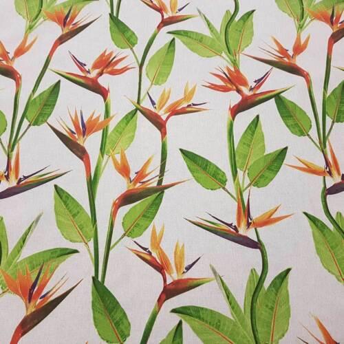 Stoff Meterware Strelitzie Blume Blätter natur Dekostoff stabil Preis pro Meter