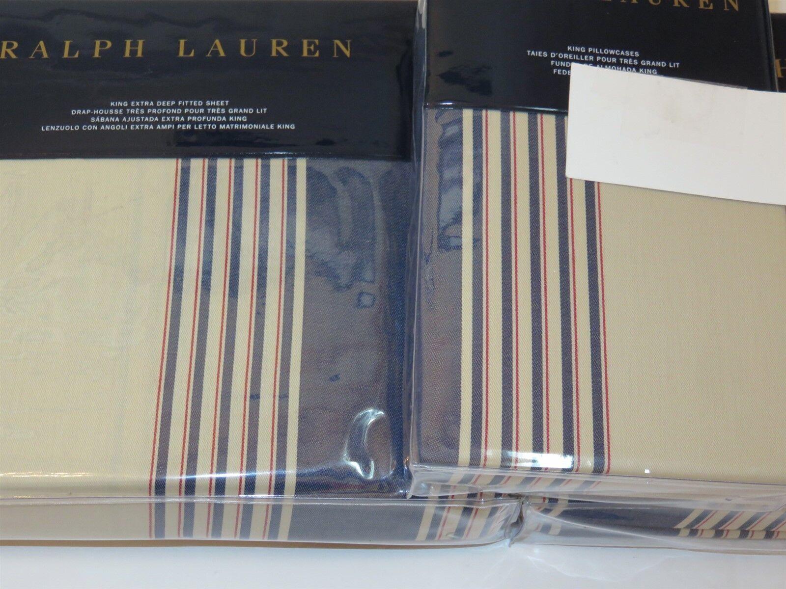 Ralph Lauren Corbet 4P Queen Sheet Set Saranac Peak Stripe