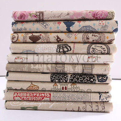 Vintage Europe Styles Natural Cotton Linen Fabric Cloth Sewing Craft Remnants