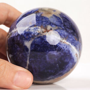 361g 65mm Natural Blue Sodalite Quartz Crystal Sphere Healing Ball Chakra Decor