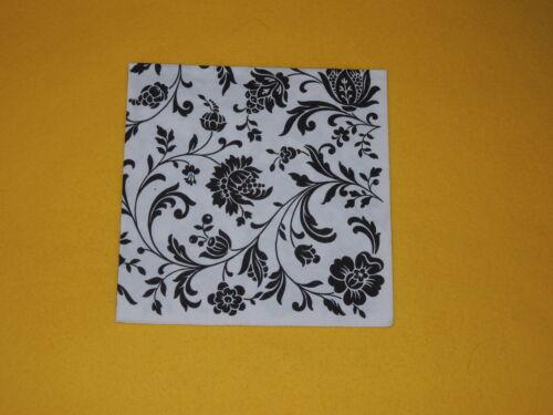 White 10 trozo x servilletas blanco negro patrón flores Black ornamentos 1