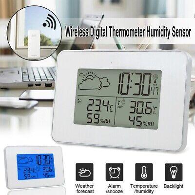 Digital LCD Funkwetterstation Temperatur Alarm Uhr Hygrometer Thermometer Sensor