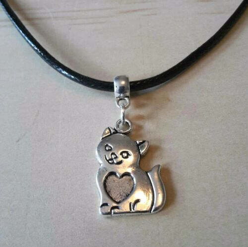 CAT LEATHER NECKLACE 17 INCH MENS WOMENS TIBETAN SILVER PENDANT