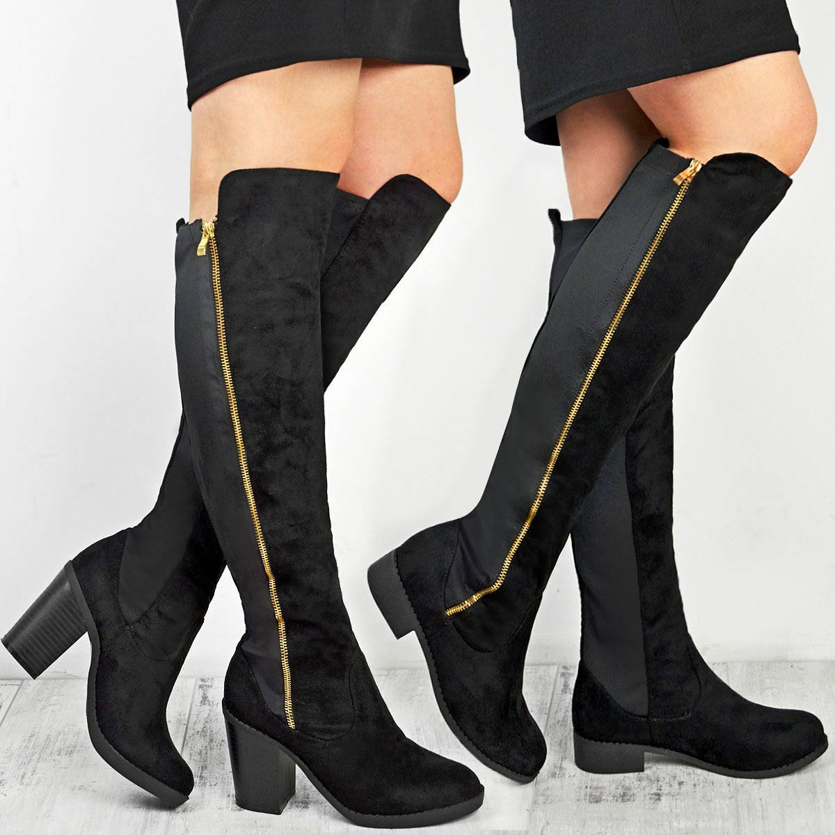 Ladies Womens Over The Knee Boots Stretchy Stretchy Boots Gold Zip Flat Low Block Heel Shoes 9ddce7