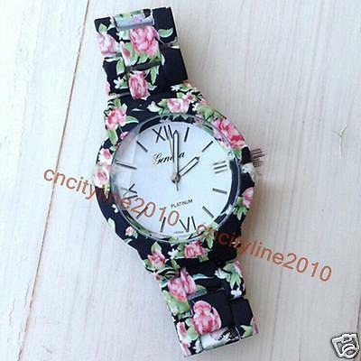 New Flowers Printed Watch Fashion Casual Women's Bracelets Quartz Dress Watches