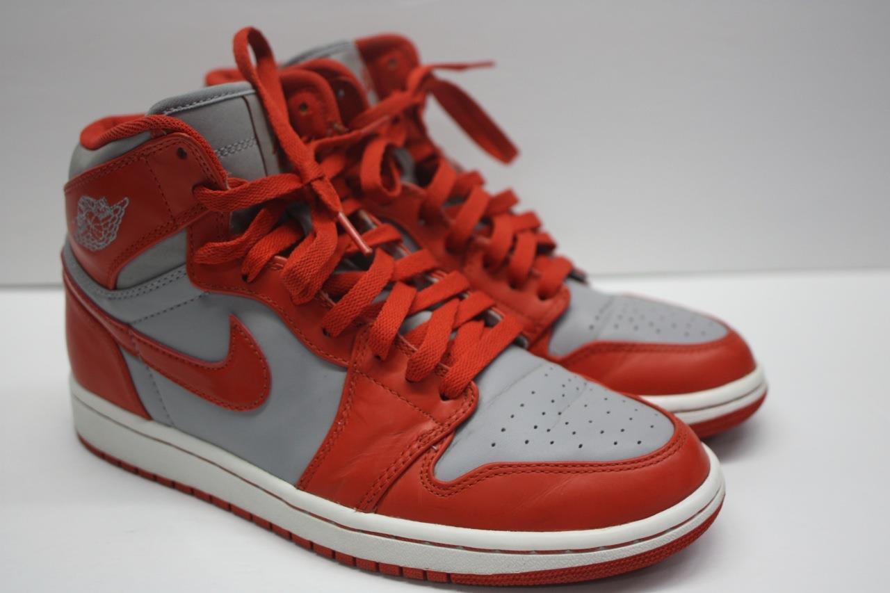 2010 Nike Air Jordan 1 Retro High Wolf Grey Spice Orange Red 332550-006 SZ 7.5