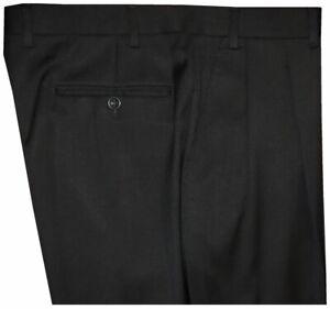PREOWNED-CANALI-BLOOMINGDALES-SOLID-BLACK-2-PLEAT-WOOL-MENS-DRESS-PANTS-34