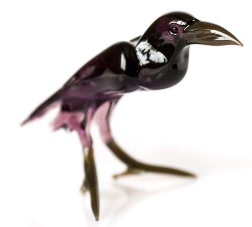 Raven Black, Figurine, Blown Glass Murano Art Bird Miniature. Made in Russia