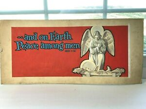 Vtg 1950 Original CHRISTMAS Painting ANGEL Baby Jesus Peace THOMSON SYMON Poster