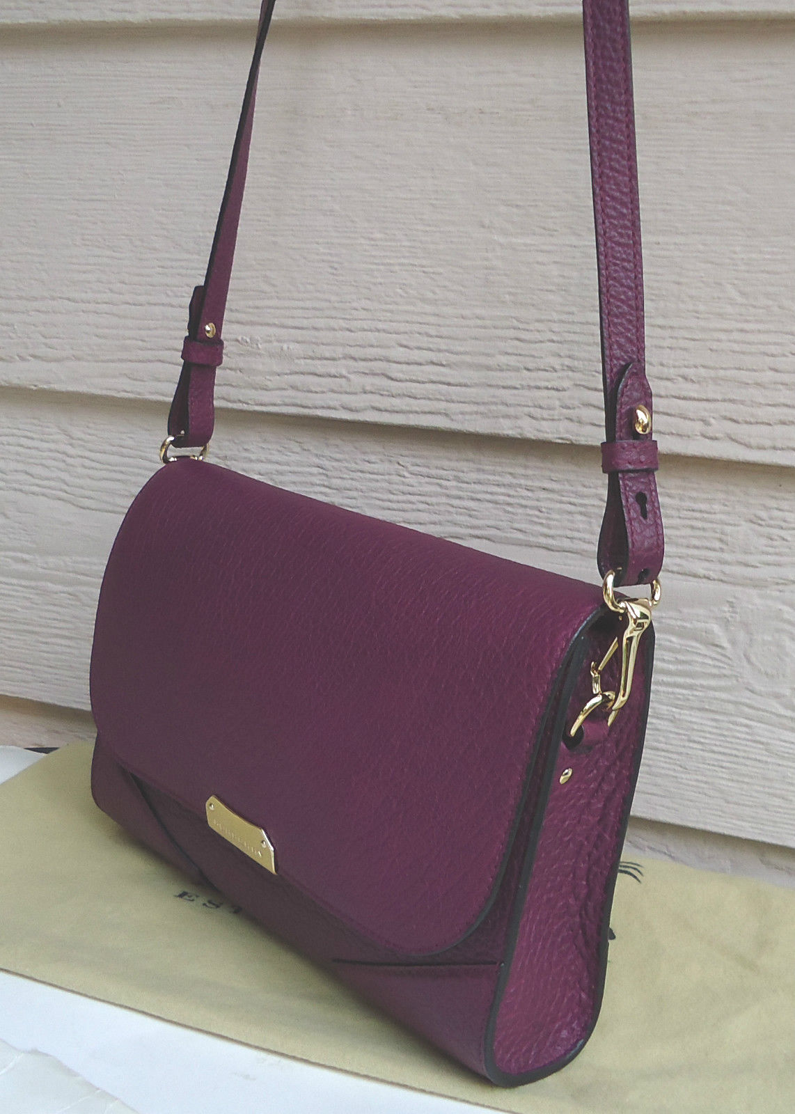 9c87830bd066 Burberry Small Abbott Leather Crossbody Clutch Damson Magenta Purple for  sale online